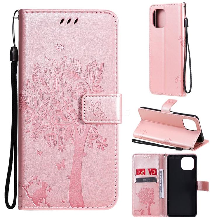 Embossing Butterfly Tree Leather Wallet Case for Xiaomi Mi 11 Lite - Rose Pink