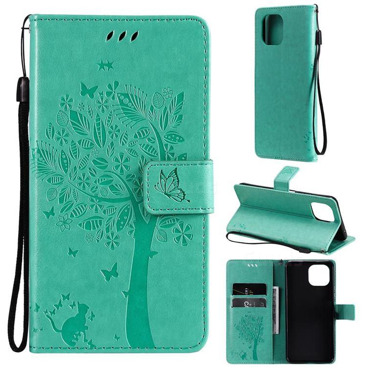 Embossing Butterfly Tree Leather Wallet Case for Xiaomi Mi 11 Lite - Cyan