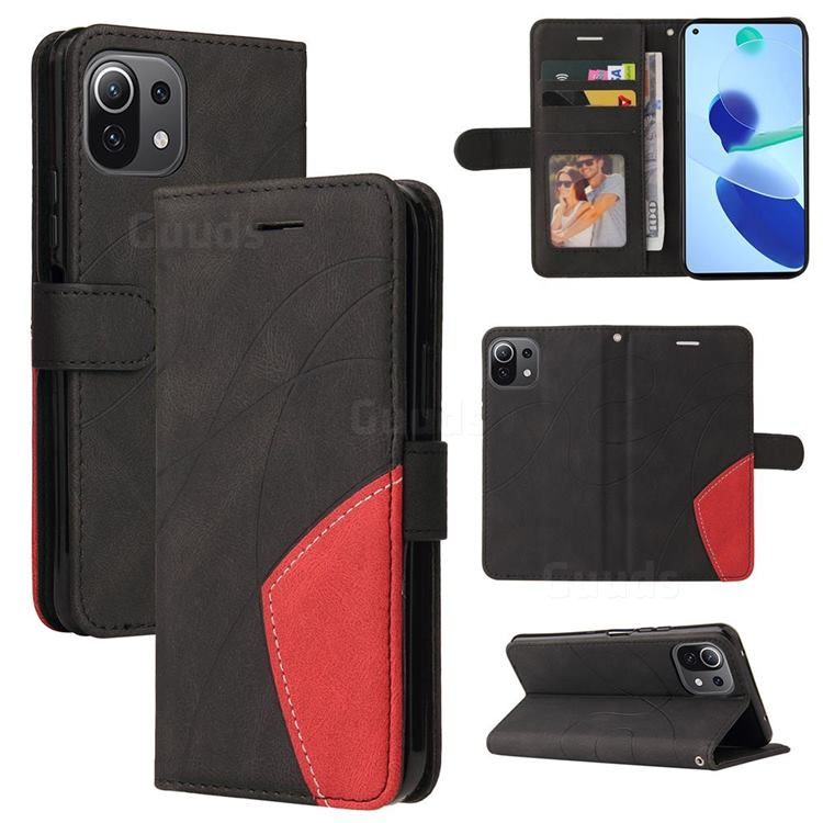 Luxury Two-color Stitching Leather Wallet Case Cover for Xiaomi Mi 11 Lite - Black