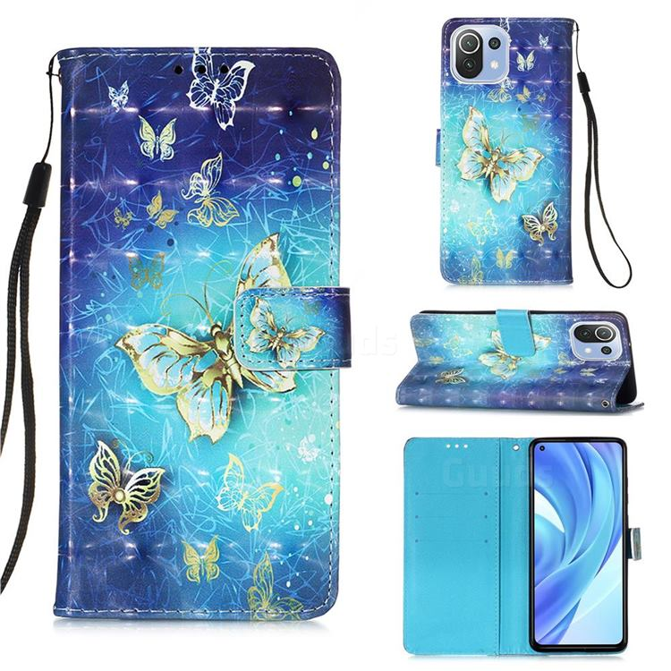 Gold Butterfly 3D Painted Leather Wallet Case for Xiaomi Mi 11 Lite