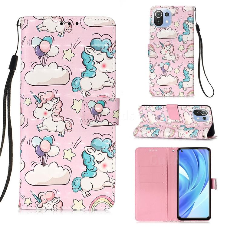 Angel Pony 3D Painted Leather Wallet Case for Xiaomi Mi 11 Lite