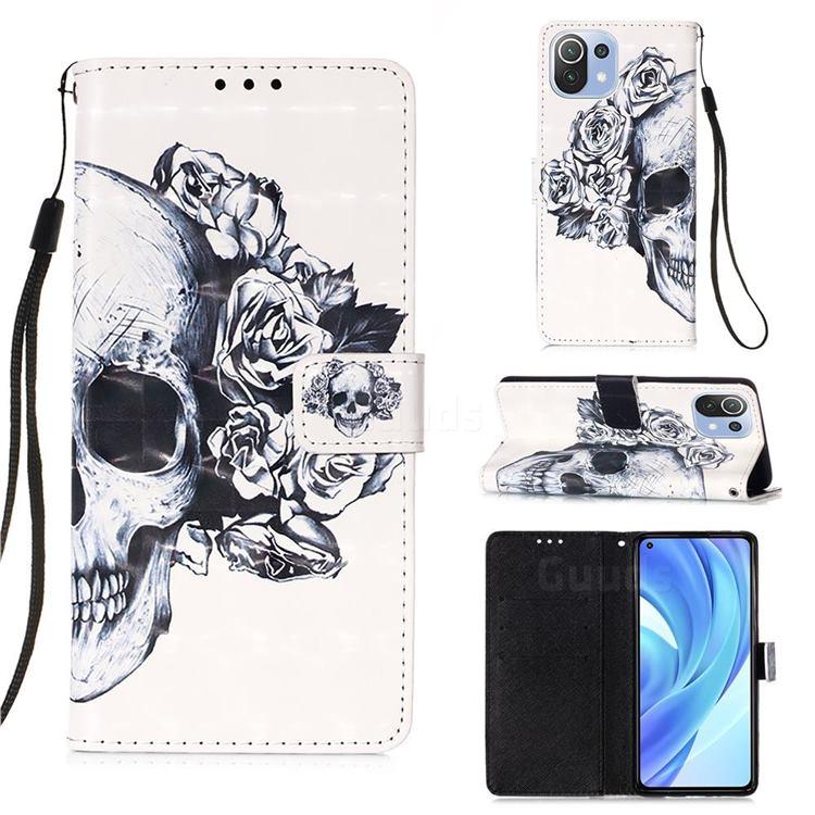 Skull Flower 3D Painted Leather Wallet Case for Xiaomi Mi 11 Lite
