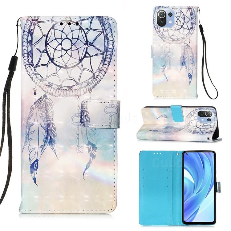 Fantasy Campanula 3D Painted Leather Wallet Case for Xiaomi Mi 11 Lite