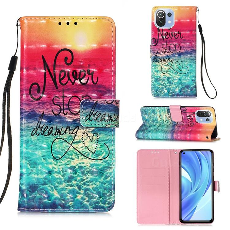 Colorful Dream Catcher 3D Painted Leather Wallet Case for Xiaomi Mi 11 Lite