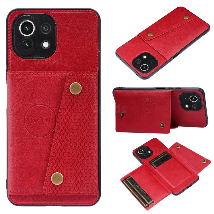 Retro Multifunction Card Slots Stand Leather Coated Phone Back Cover for Xiaomi Mi 11 Lite - Red