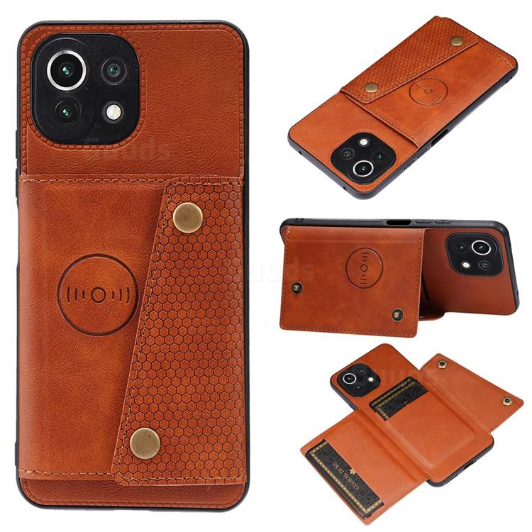 Retro Multifunction Card Slots Stand Leather Coated Phone Back Cover for Xiaomi Mi 11 Lite - Brown
