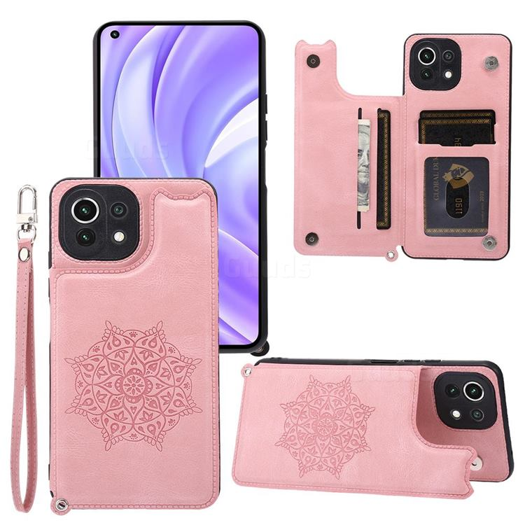 Luxury Mandala Multi-function Magnetic Card Slots Stand Leather Back Cover for Xiaomi Mi 11 Lite - Rose Gold