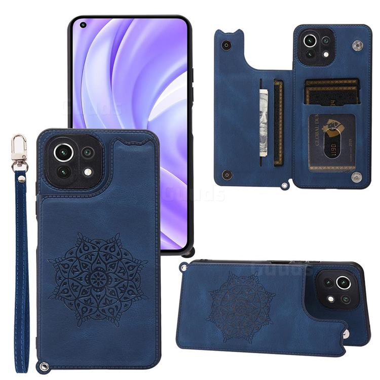 Luxury Mandala Multi-function Magnetic Card Slots Stand Leather Back Cover for Xiaomi Mi 11 Lite - Blue