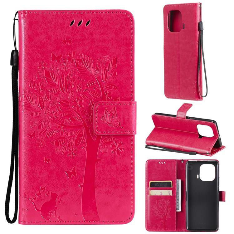 Embossing Butterfly Tree Leather Wallet Case for Xiaomi Mi 11 Pro - Rose
