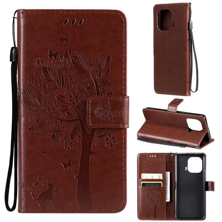 Embossing Butterfly Tree Leather Wallet Case for Xiaomi Mi 11 Pro - Coffee