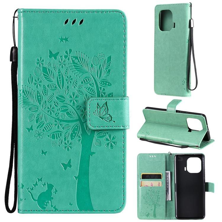 Embossing Butterfly Tree Leather Wallet Case for Xiaomi Mi 11 Pro - Cyan