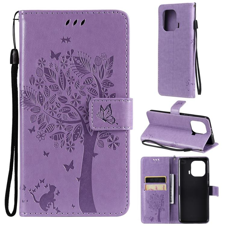 Embossing Butterfly Tree Leather Wallet Case for Xiaomi Mi 11 Pro - Violet