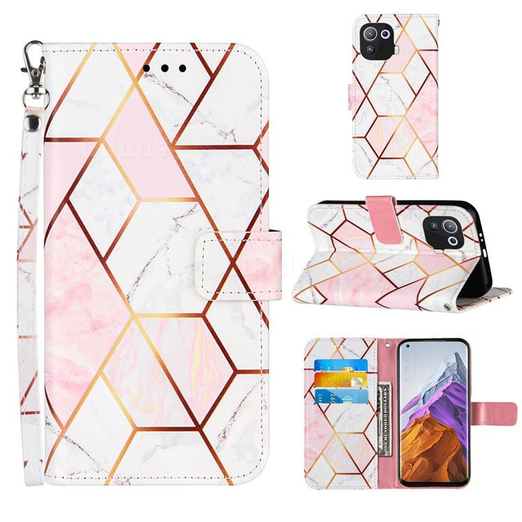 Pink White Stitching Color Marble Leather Wallet Case for Xiaomi Mi 11 Pro