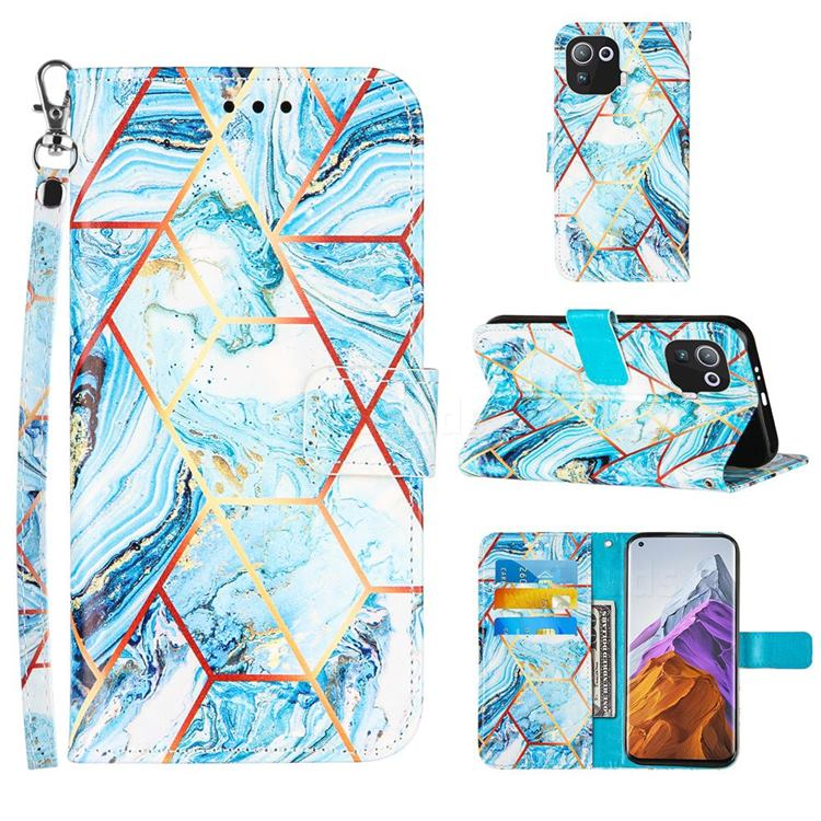 Lake Blue Stitching Color Marble Leather Wallet Case for Xiaomi Mi 11 Pro
