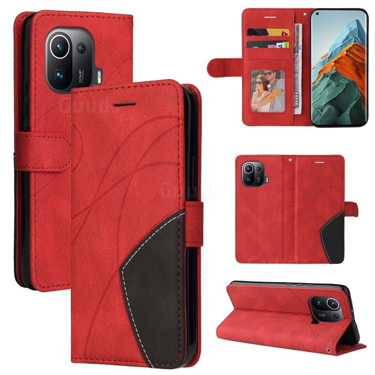 Luxury Two-color Stitching Leather Wallet Case Cover for Xiaomi Mi 11 Pro - Red