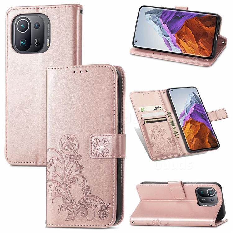 Embossing Imprint Four-Leaf Clover Leather Wallet Case for Xiaomi Mi 11 Pro - Rose Gold