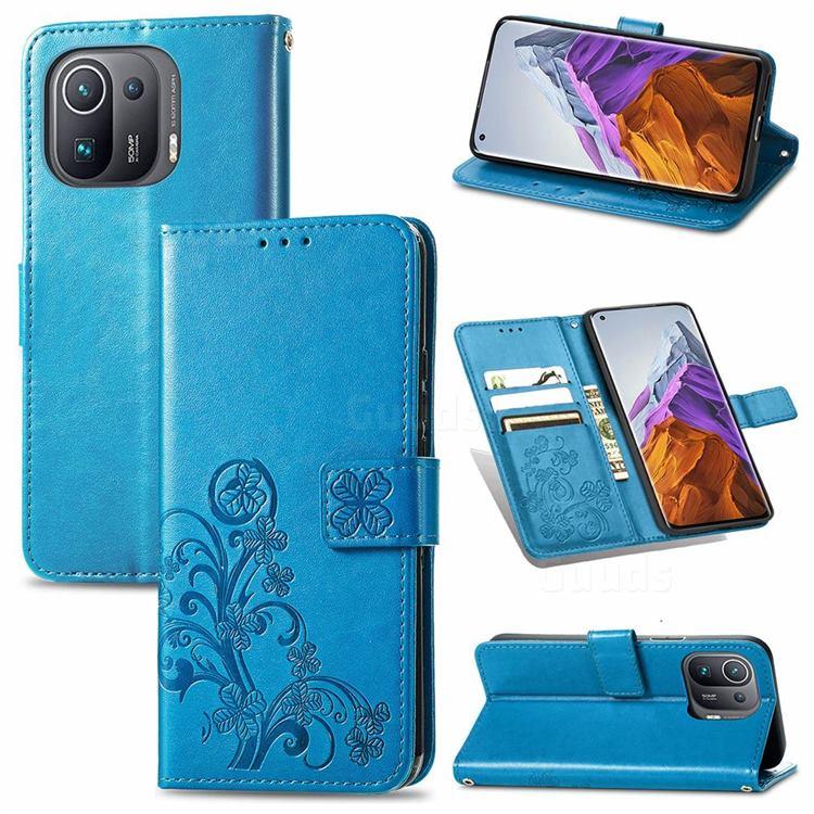 Embossing Imprint Four-Leaf Clover Leather Wallet Case for Xiaomi Mi 11 Pro - Blue