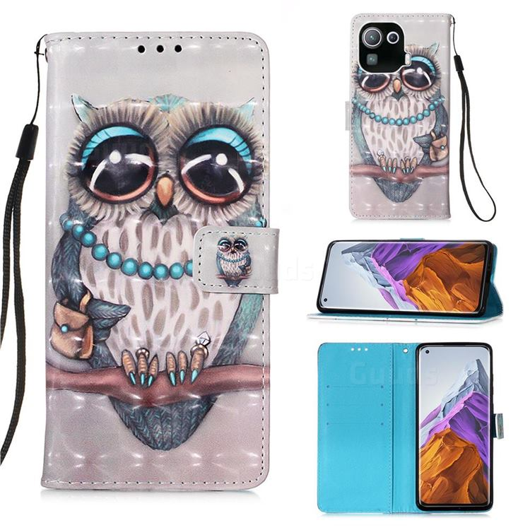 Sweet Gray Owl 3D Painted Leather Wallet Case for Xiaomi Mi 11 Pro