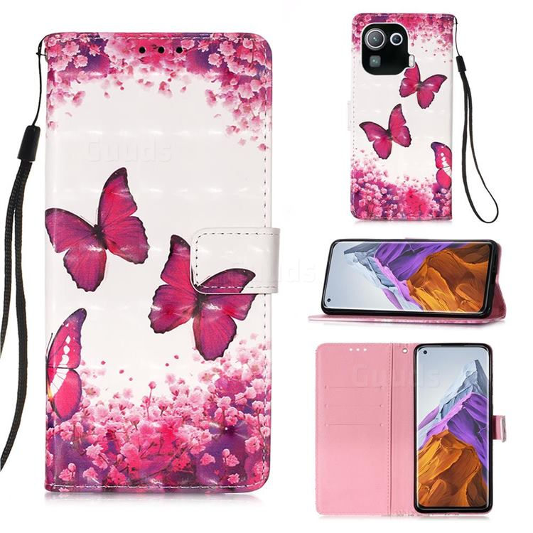 Rose Butterfly 3D Painted Leather Wallet Case for Xiaomi Mi 11 Pro