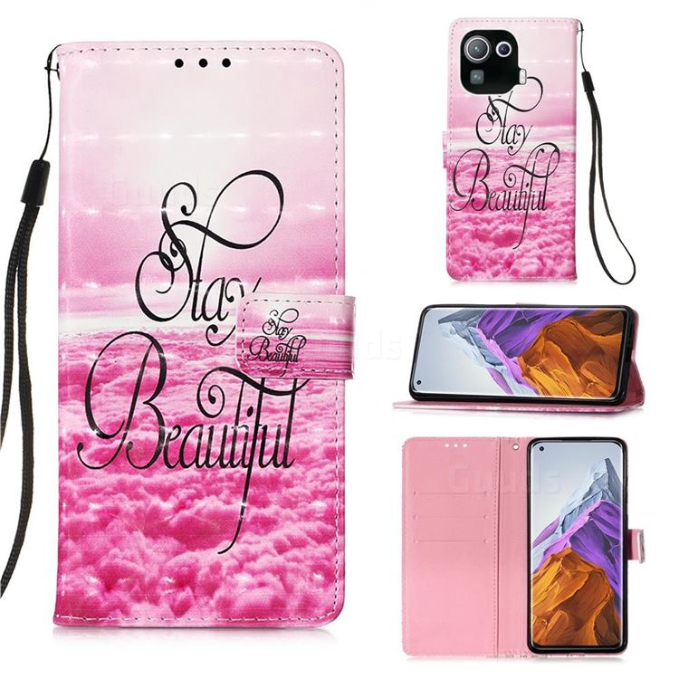 Beautiful 3D Painted Leather Wallet Case for Xiaomi Mi 11 Pro