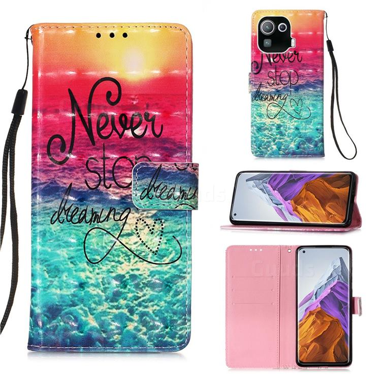 Colorful Dream Catcher 3D Painted Leather Wallet Case for Xiaomi Mi 11 Pro