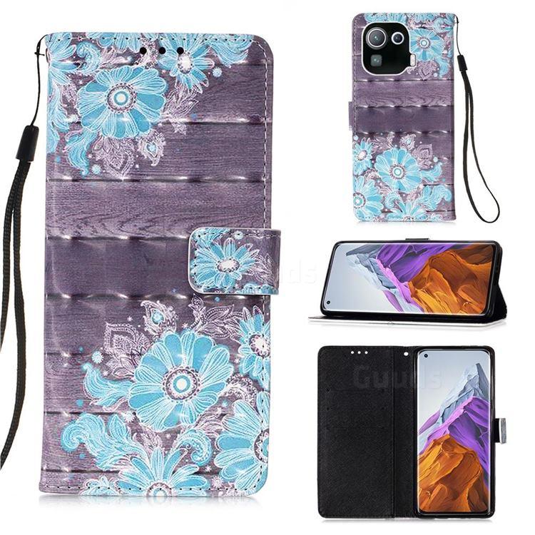 Blue Flower 3D Painted Leather Wallet Case for Xiaomi Mi 11 Pro