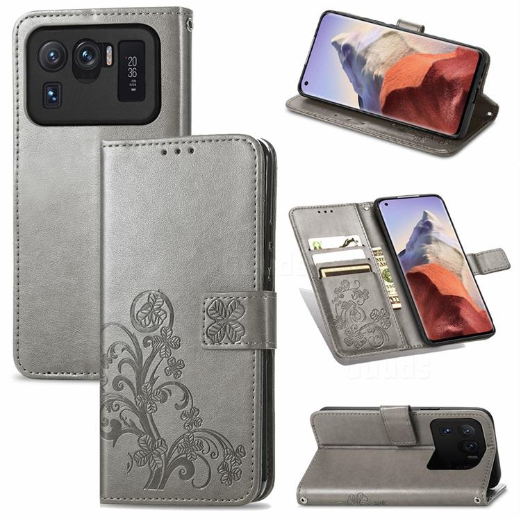 Embossing Imprint Four-Leaf Clover Leather Wallet Case for Xiaomi Mi 11 Ultra - Grey