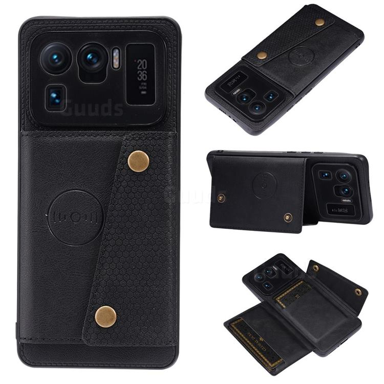 Retro Multifunction Card Slots Stand Leather Coated Phone Back Cover for Xiaomi Mi 11 Ultra - Black