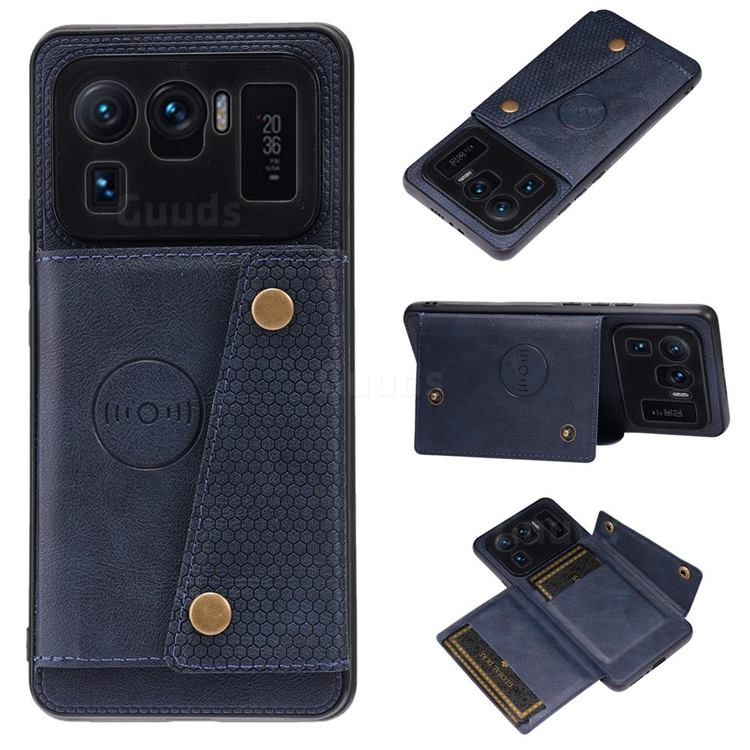 Retro Multifunction Card Slots Stand Leather Coated Phone Back Cover for Xiaomi Mi 11 Ultra - Blue