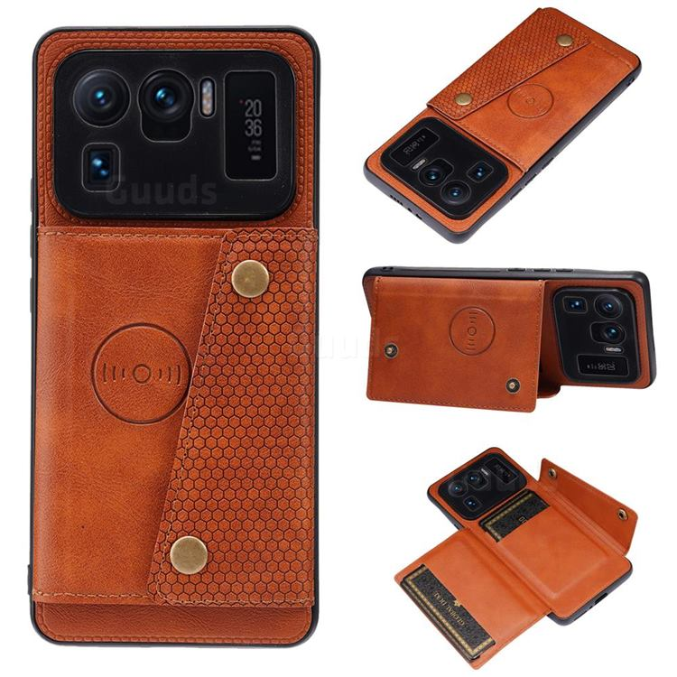 Retro Multifunction Card Slots Stand Leather Coated Phone Back Cover for Xiaomi Mi 11 Ultra - Brown