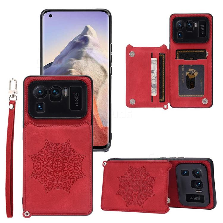Luxury Mandala Multi-function Magnetic Card Slots Stand Leather Back Cover for Xiaomi Mi 11 Ultra - Red