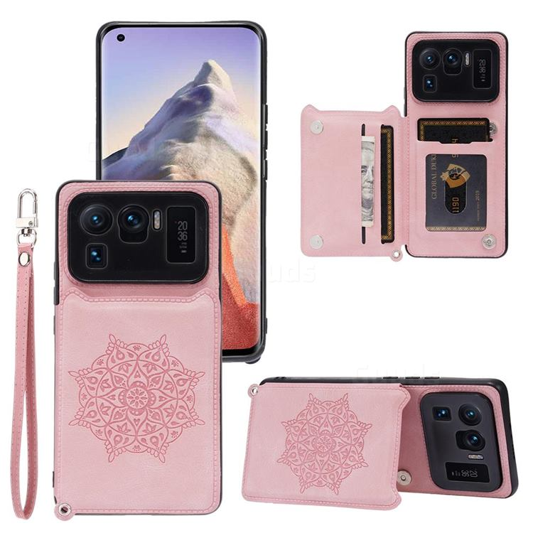 Luxury Mandala Multi-function Magnetic Card Slots Stand Leather Back Cover for Xiaomi Mi 11 Ultra - Rose Gold