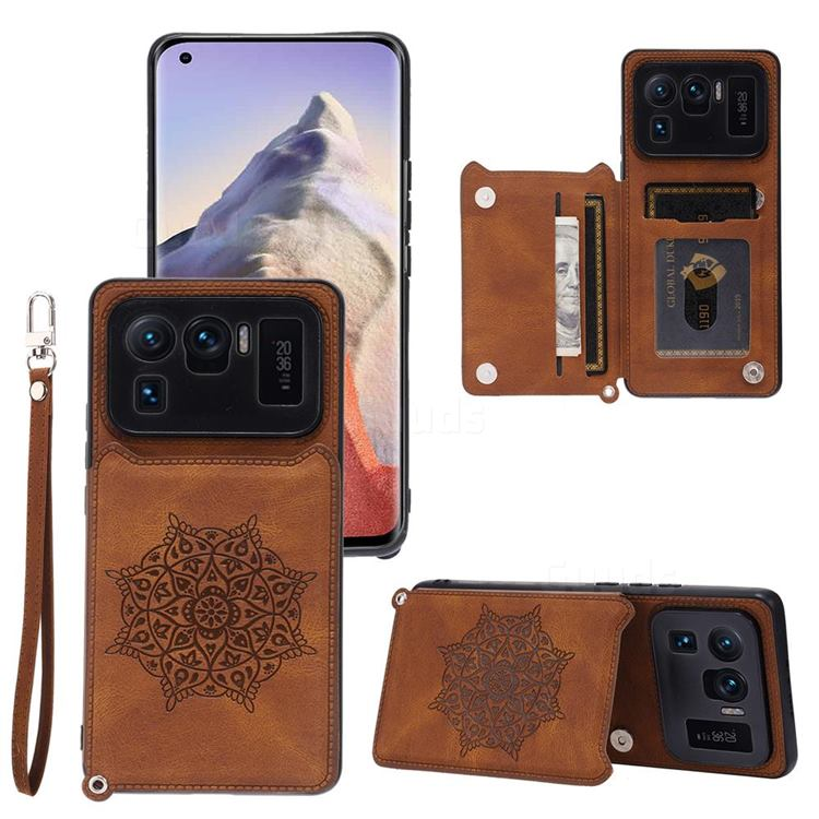 Luxury Mandala Multi-function Magnetic Card Slots Stand Leather Back Cover for Xiaomi Mi 11 Ultra - Brown
