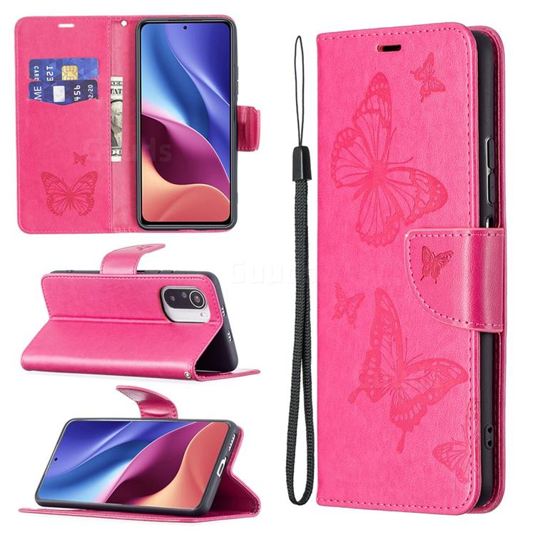 Embossing Double Butterfly Leather Wallet Case for Xiaomi Mi 11i / Poco F3 - Red