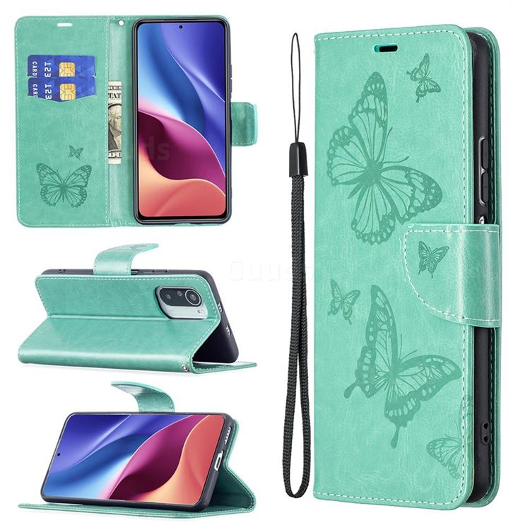 Embossing Double Butterfly Leather Wallet Case for Xiaomi Mi 11i / Poco F3 - Green
