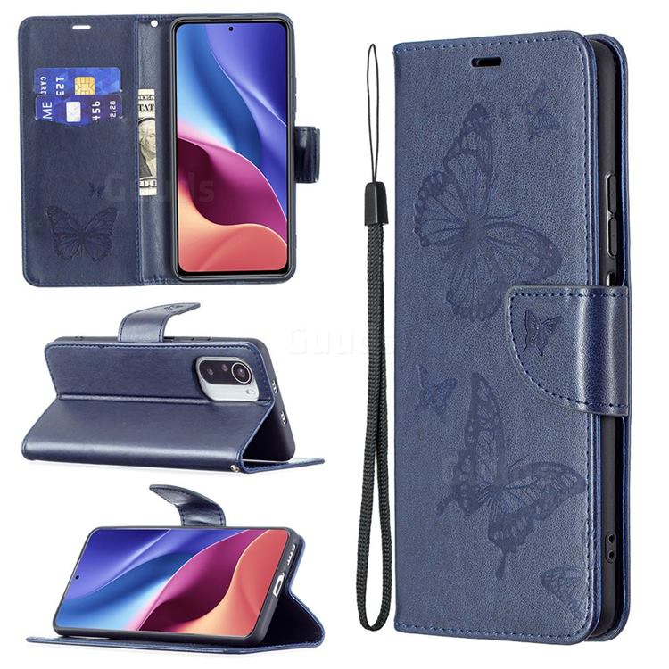 Embossing Double Butterfly Leather Wallet Case for Xiaomi Mi 11i / Poco F3 - Dark Blue