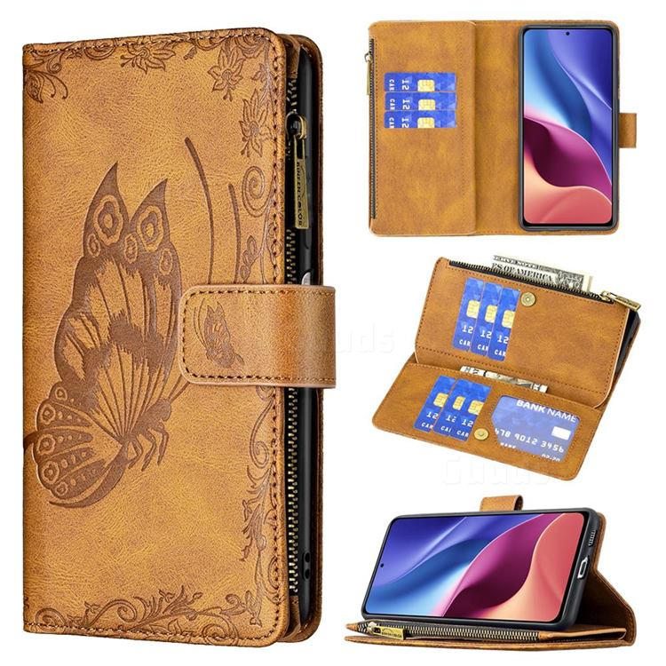 Binfen Color Imprint Vivid Butterfly Buckle Zipper Multi-function Leather Phone Wallet for Xiaomi Mi 11i / Poco F3 - Brown