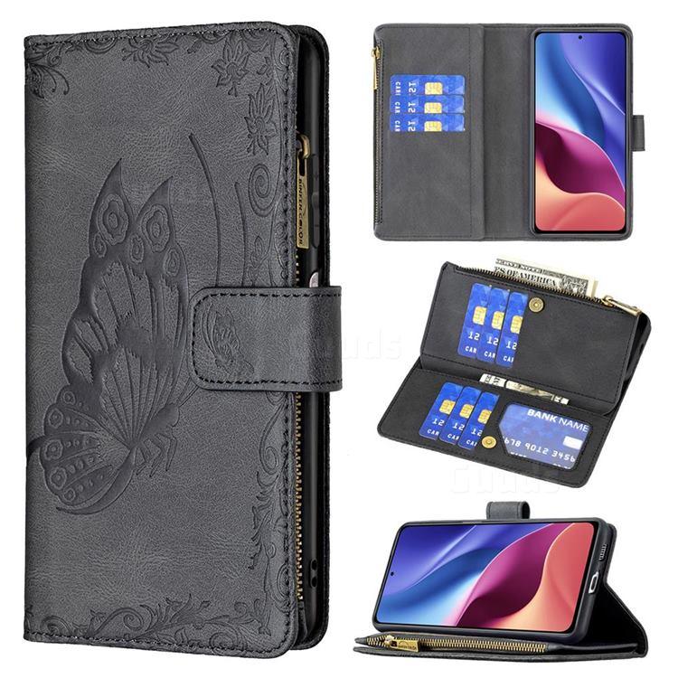 Binfen Color Imprint Vivid Butterfly Buckle Zipper Multi-function Leather Phone Wallet for Xiaomi Mi 11i / Poco F3 - Black
