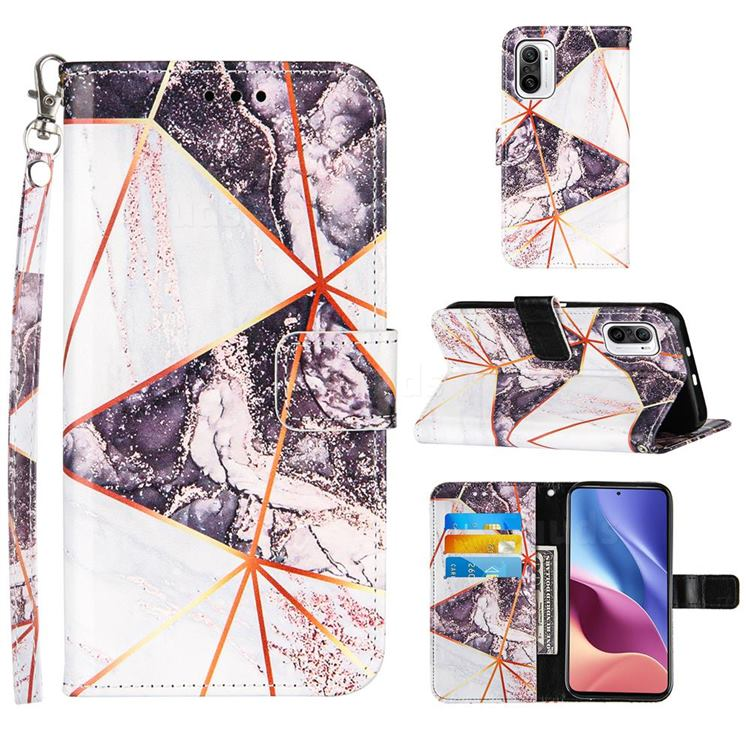 Black and White Stitching Color Marble Leather Wallet Case for Xiaomi Mi 11i / Poco F3