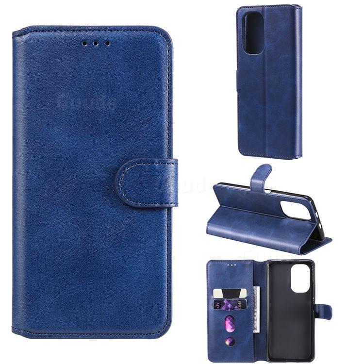 Retro Calf Matte Leather Wallet Phone Case for Xiaomi Mi 11i / Poco F3 - Blue