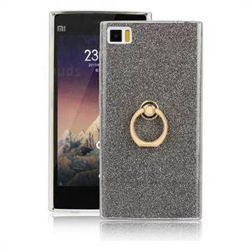 Luxury Soft TPU Glitter Back Ring Cover with 360 Rotate Finger Holder Buckle for Xiaomi Mi 3 Miui3 Mi3 - Black
