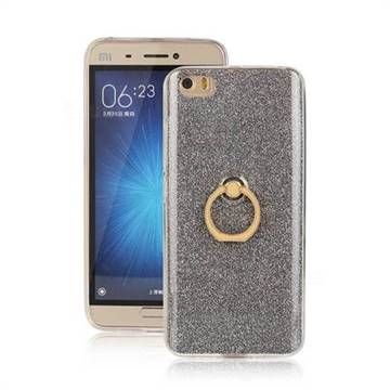 Luxury Soft TPU Glitter Back Ring Cover with 360 Rotate Finger Holder Buckle for Xiaomi Mi 5 Mi5 - Black