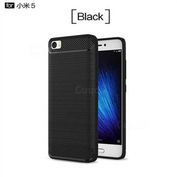 Luxury Carbon Fiber Brushed Wire Drawing Silicone TPU Back Cover for Xiaomi Mi 5 Mi5 - Black