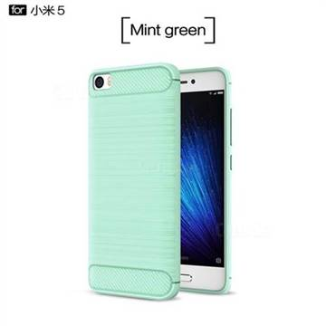 new product 7b52c ccd0f Luxury Carbon Fiber Brushed Wire Drawing Silicone TPU Back Cover for Xiaomi  Mi 5 Mi5 - Mint Green