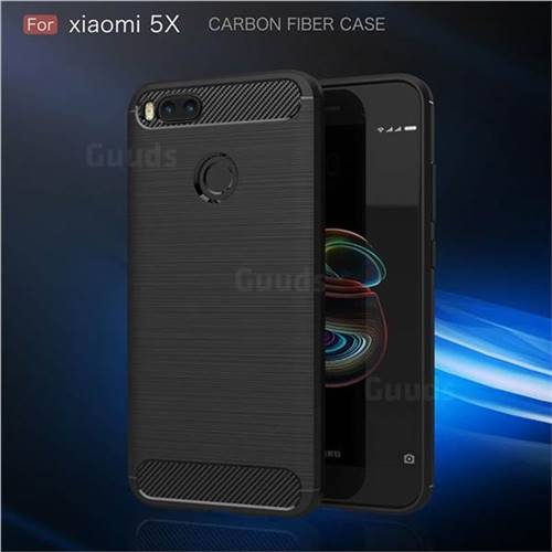 Luxury Carbon Fiber Brushed Wire Drawing Silicone TPU Back Cover for Xiaomi Mi 5X  - Black