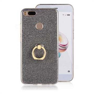 Luxury Soft TPU Glitter Back Ring Cover with 360 Rotate Finger Holder Buckle for Xiaomi Mi 5X - Black