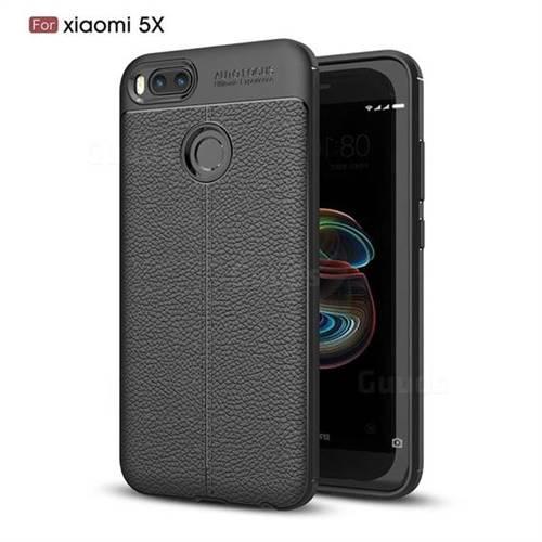 Luxury Auto Focus Litchi Texture Silicone TPU Back Cover for Xiaomi Mi A1 / Mi 5X - Black