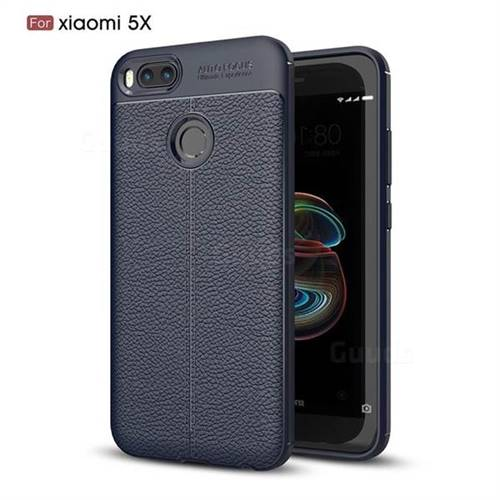 Luxury Auto Focus Litchi Texture Silicone TPU Back Cover for Xiaomi Mi A1 / Mi 5X - Dark Blue