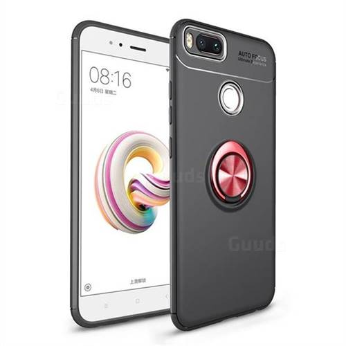 Auto Focus Invisible Ring Holder Soft Phone Case for Xiaomi Mi A1 / Mi 5X - Black Red