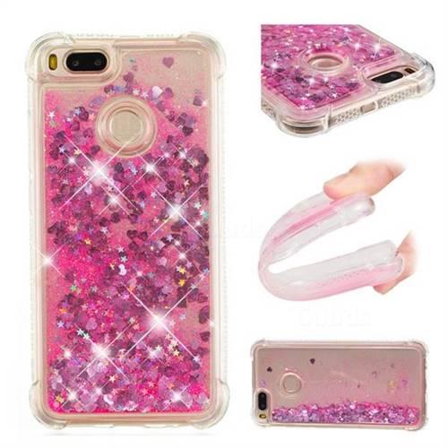 Dynamic Liquid Glitter Sand Quicksand TPU Case for Xiaomi Mi A1 / Mi 5X - Pink Love Heart